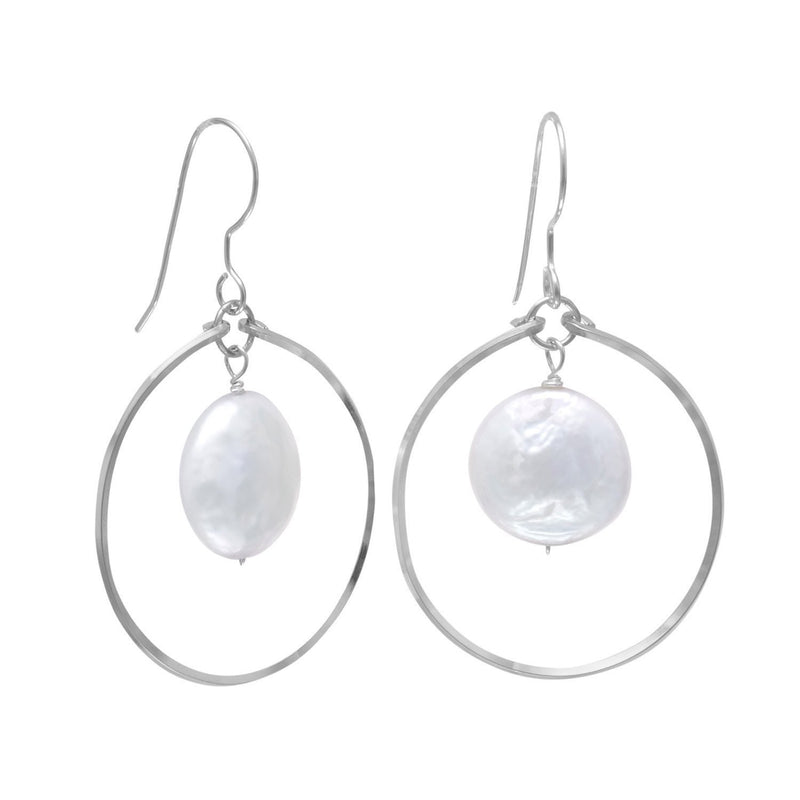 Pearl Drop in Open Circle French Wire Sterling Silver Earrings - deelytes-com