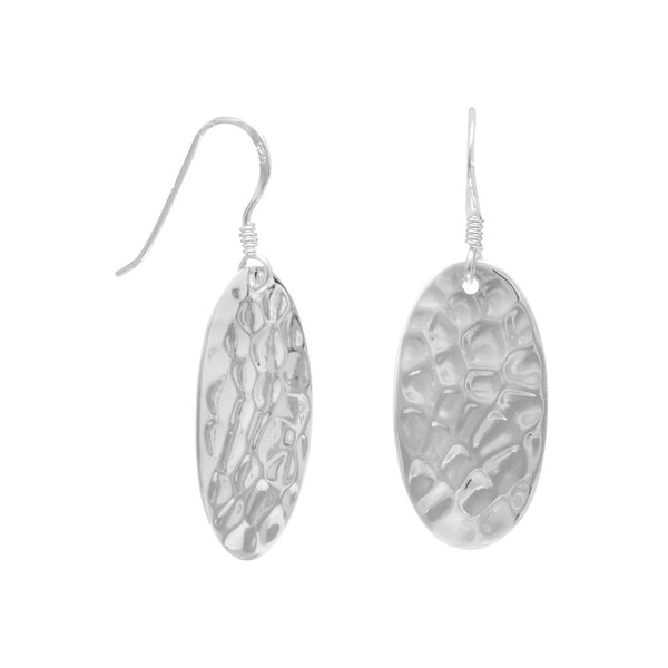Sterling Silver Small Oval Hammered French Wire Earrings - deelytes-com