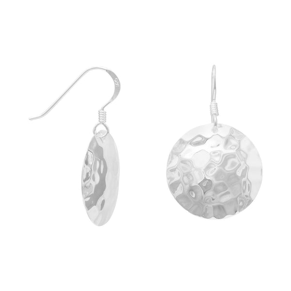 Round Sterling Silver Hammered French Wire Earrings - deelytes-com