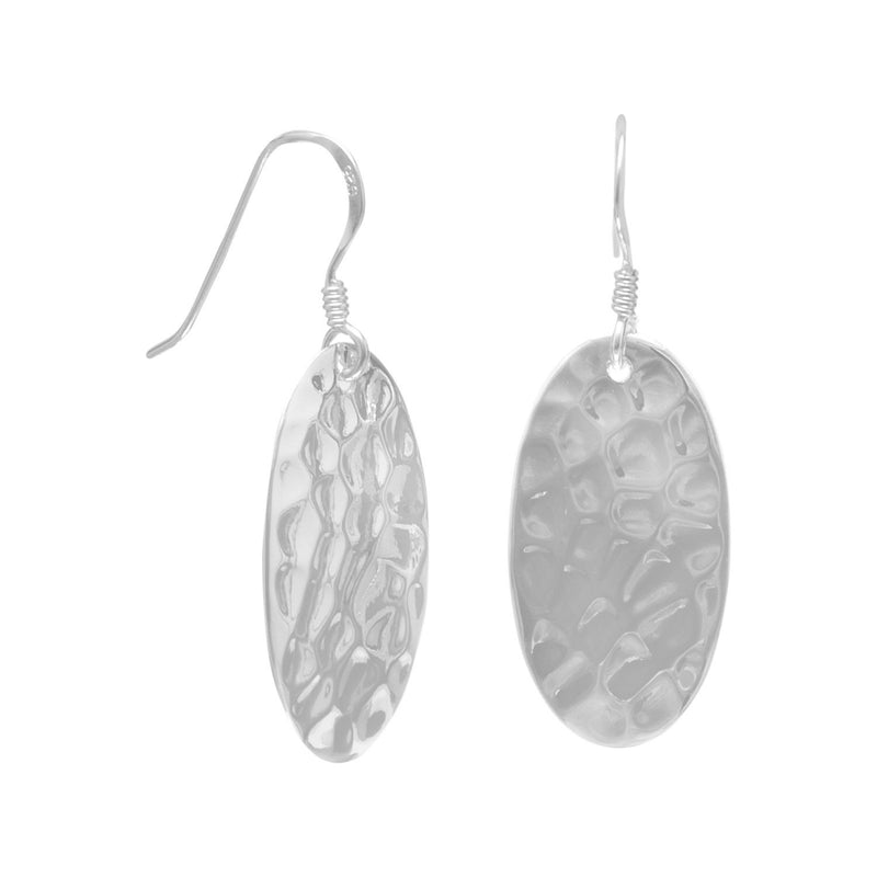 Large Oval Sterling Silver Hammered French Wire Earrings - deelytes-com