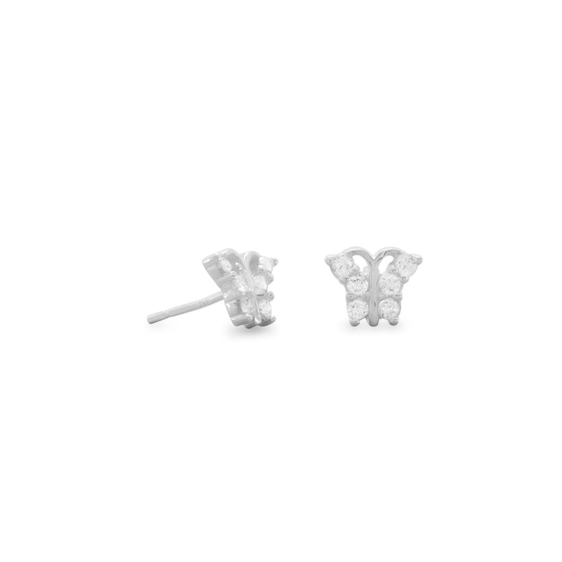 CZ Butterfly Sterling Silver Stud Earrings - deelytes-com
