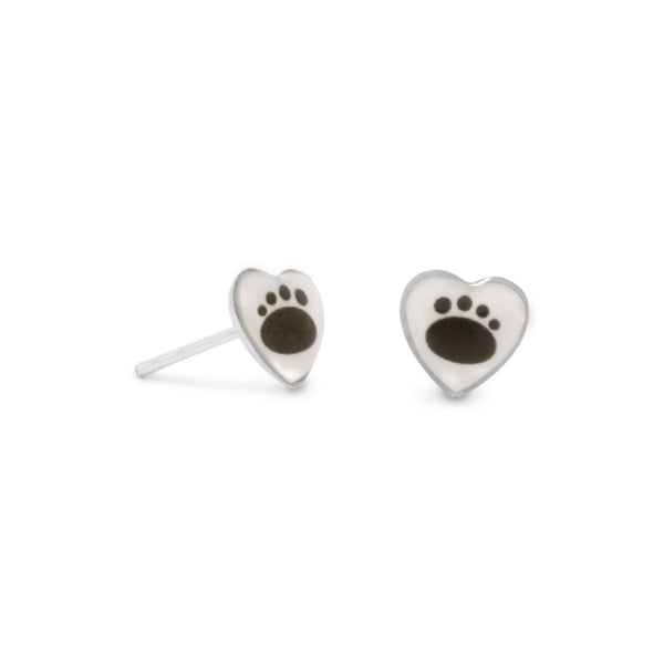 Paw Print Sterling Silver Stud Earrings - deelytes-com