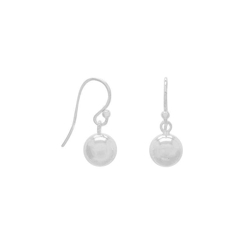 8mm Bead Sterling Silver Drop Earrings - deelytes-com