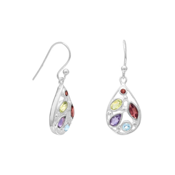 Multi-Gemstone Multi-Shape Sterling Silver French Wire Earrings - deelytes-com