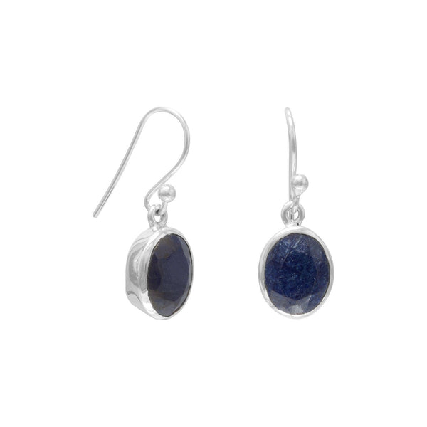 Sterling Silver Oval Faceted Corundum Earrings - deelytes-com