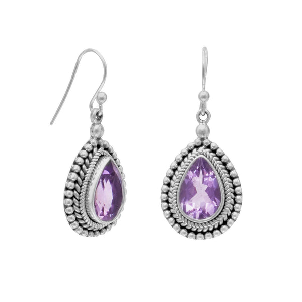 Amethyst with Bead Edge Sterling Silver Earrings - deelytes-com