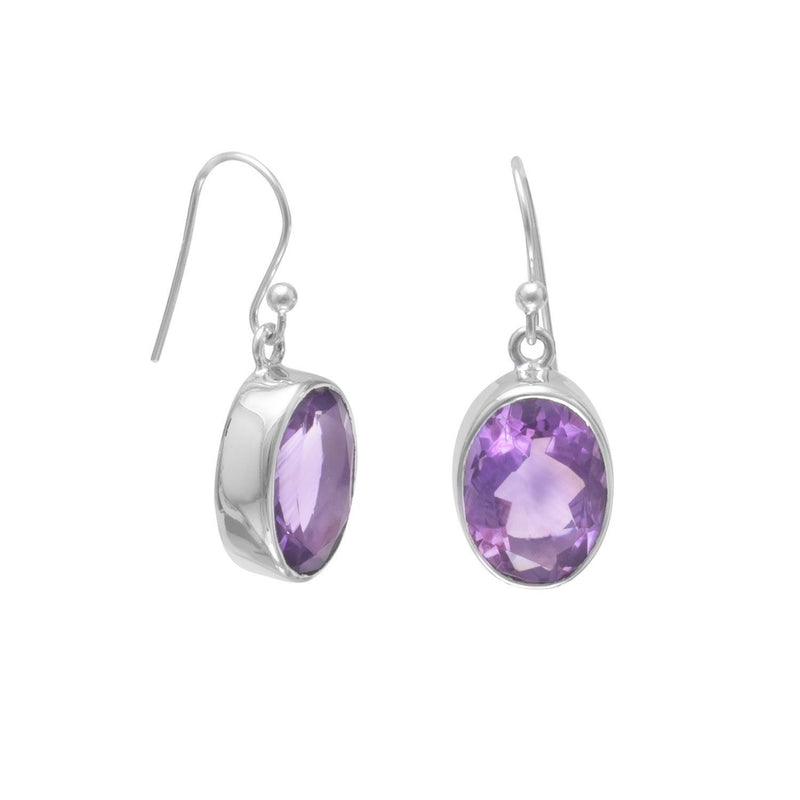 Faceted Amethyst Sterling Silver French Wire Earrings - deelytes-com