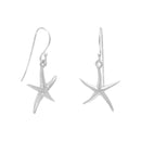Sterling Silver Starfish French Wire Earrings - deelytes-com