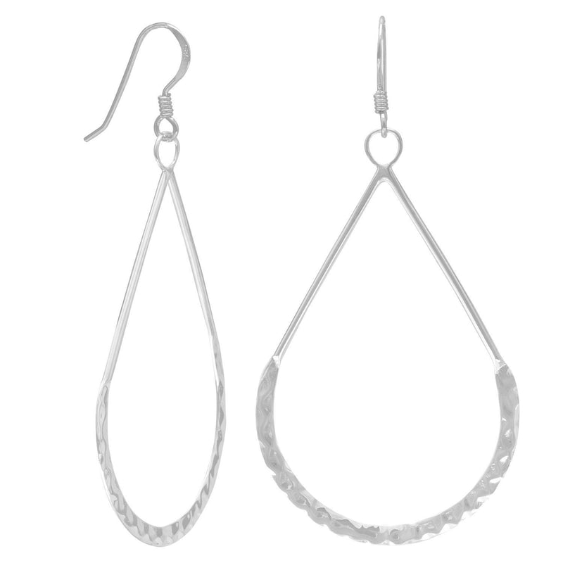 Hammered Sterling Silver Pear Shape French Wire Earrings - deelytes-com