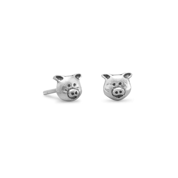 Sterling Silver Piggy Stud Earrings - deelytes-com