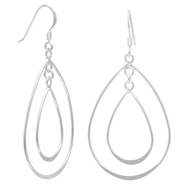 Double Pear Shape Sterling Silver French Wire Earrings - deelytes-com