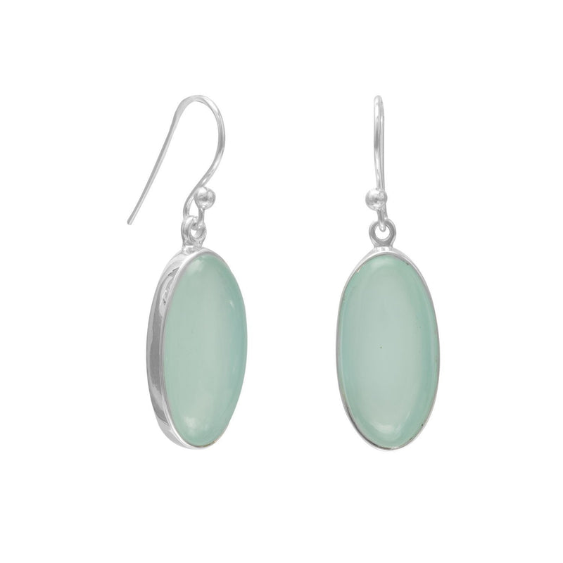 Oval Green Chalcedony Sterling Silver French Wire Earrings - deelytes-com