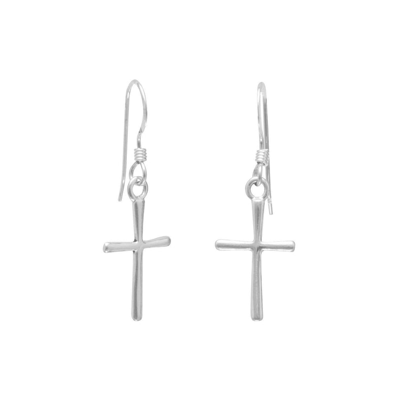 Thin Cross Sterling Silver French Wire Earrings - deelytes-com