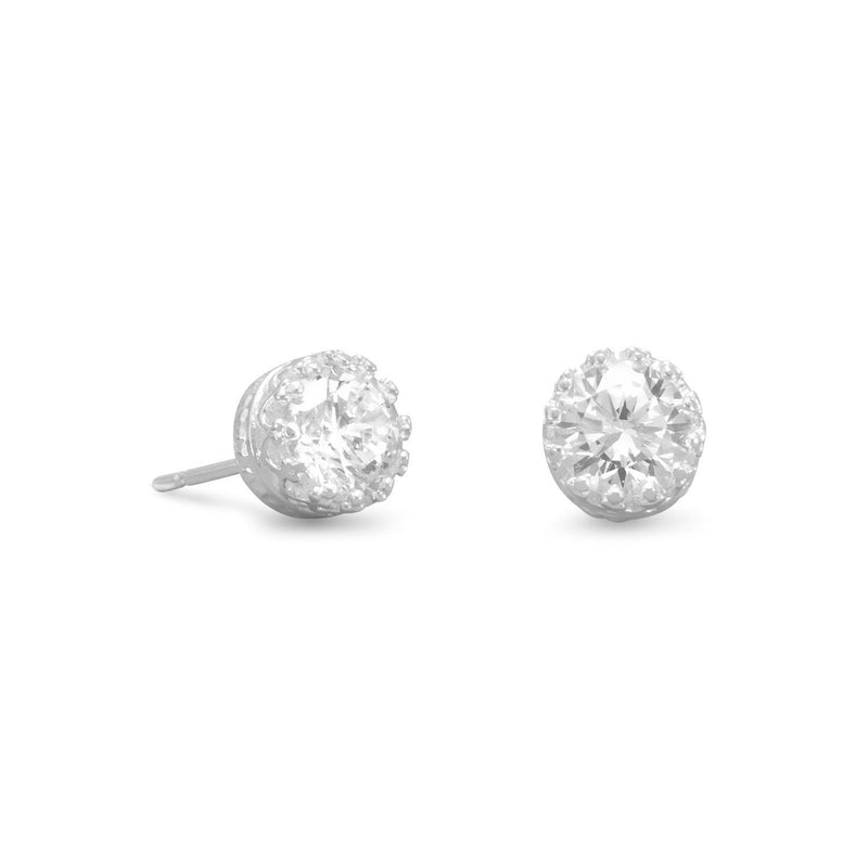 6mm Round CZ Sterling Silver Stud Earrings in Crown Setting - deelytes-com