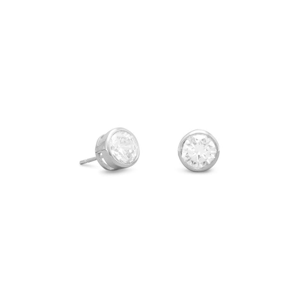 Bezel Set CZ Sterling Silver Stud Earrings - deelytes-com