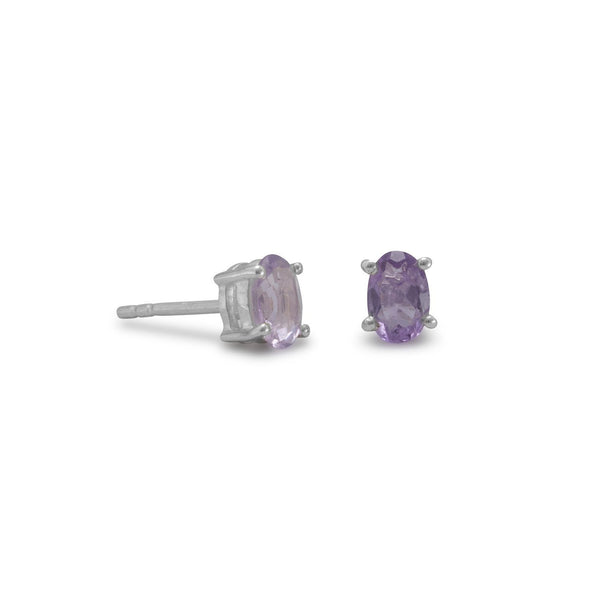 Faceted Oval Amethyst Sterling Silver Earrings - deelytes-com