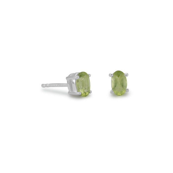 Oval Peridot Sterling Silver Earrings - deelytes-com