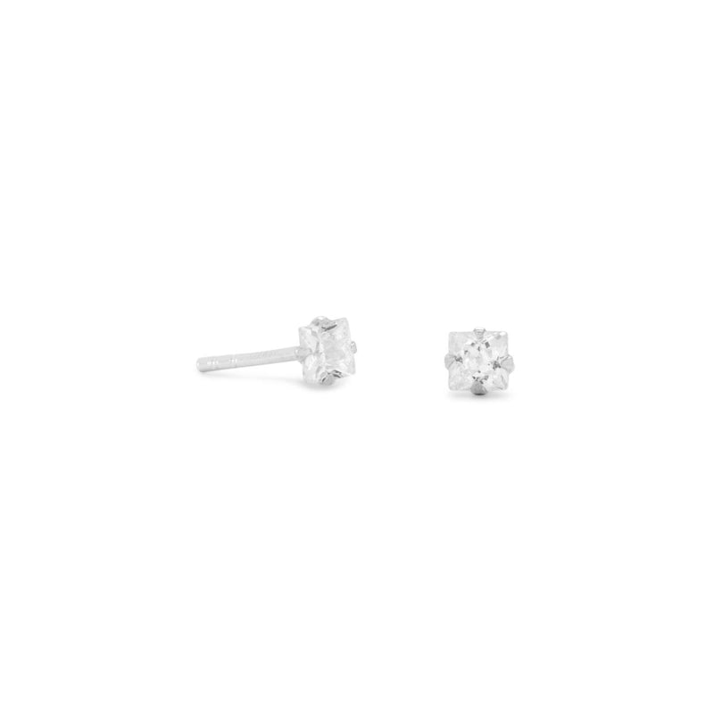 3mm CZ Square Sterling Silver Earrings - deelytes-com