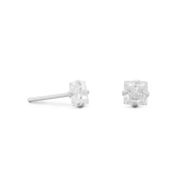 4mm CZ Square Earrings Sterling Silver - deelytes-com
