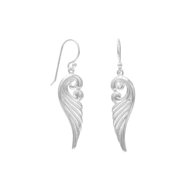 Polished Ornate Angel Sterling Silver Wing Earrings - deelytes-com