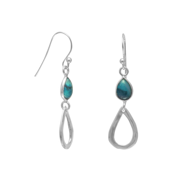 Stabilized Turquoise Drop Sterling Silver French Wire Earrings - deelytes-com
