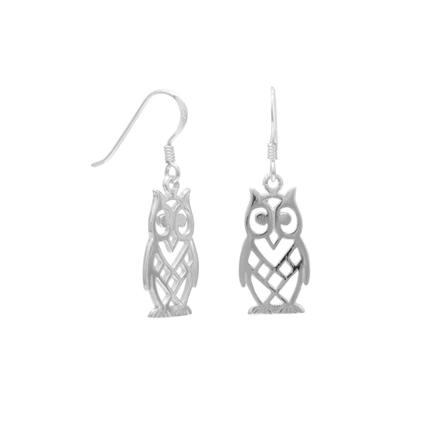 Sterling Silver Cut Out Owl Earrings - deelytes-com