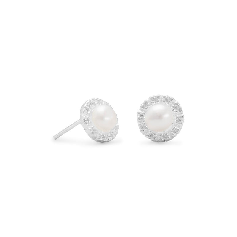 Cultured Freshwater and CZ Sterling Silver Earrings - deelytes-com