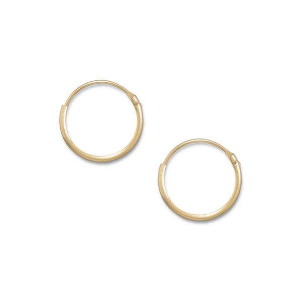 14/20 Gold 1mm x 12mm Hoops - deelytes-com