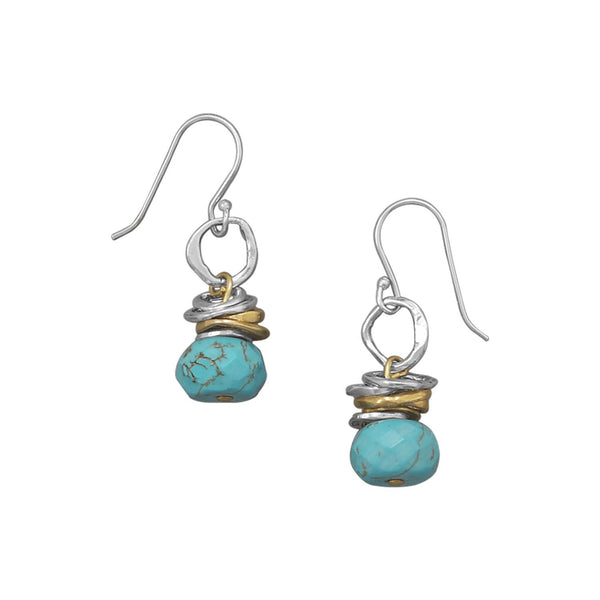 Two Tone Turquoise Drop Earrings Sterling Silver - deelytes-com