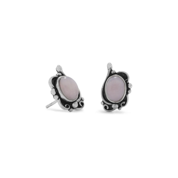 Sterling Silver Pink Opal Earrings - deelytes-com