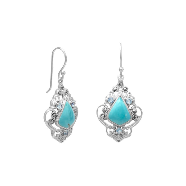 Turquoise, Blue Topaz and Martensite Sterling Silver Earrings - deelytes-com