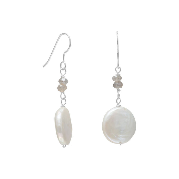 Baroque Pearl and Labradorite Drop Sterling Silver Earrings - deelytes-com