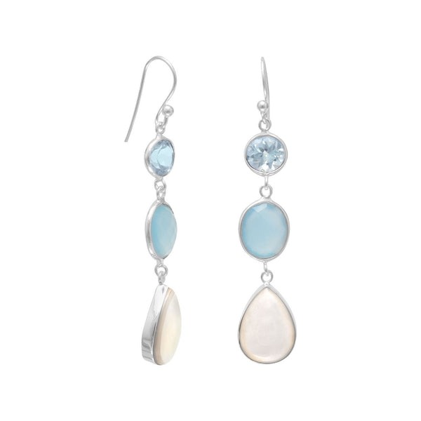 Sterling Silver Blue Multi-Gemstone Drop Earrings - deelytes-com