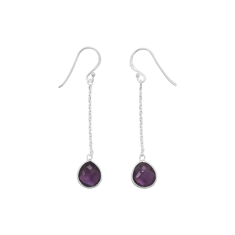 Sterling Silver Amethyst Chain Drop Earrings - deelytes-com