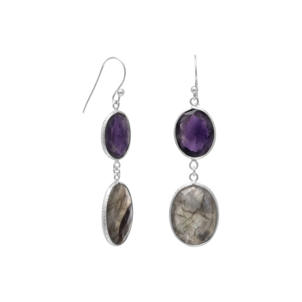 Sterling Silver Amethyst and Labradorite Earrings - deelytes-com
