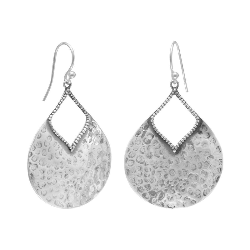 Sterling Silver Hammered Pear Shape Earrings - deelytes-com