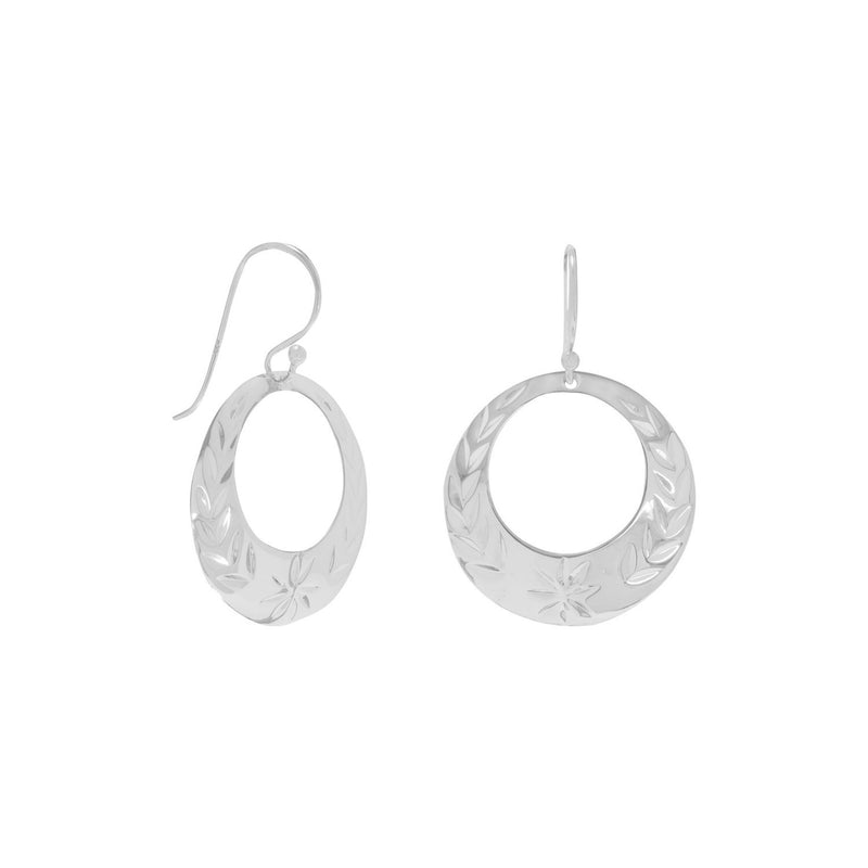 Floral Design Diamond Cut Sterling Silver Circle Earrings - deelytes-com