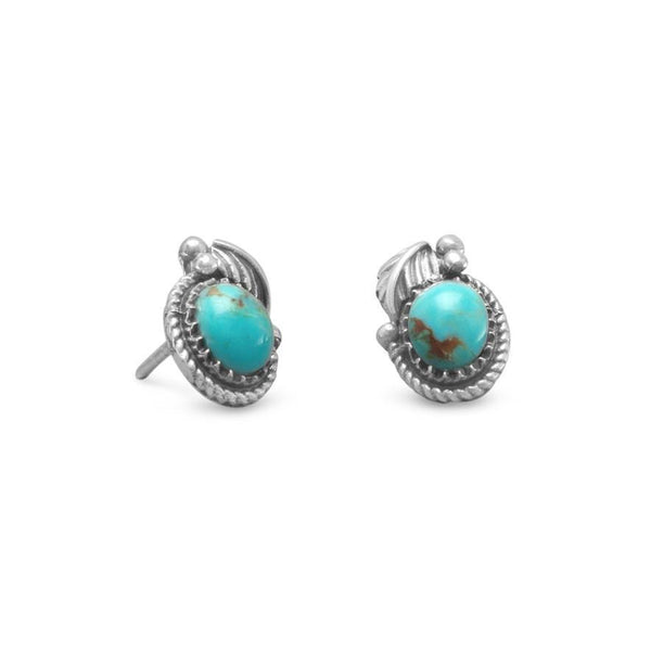 Southwest Style Turquoise Sterling Silver Stud Earrings - deelytes-com