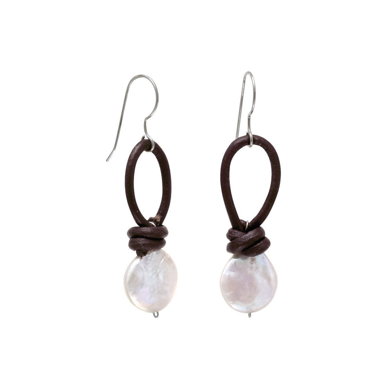 Leather and Cultured Freshwater Pearl Sterling Silver Earrings - deelytes-com