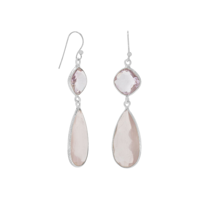 Pink Amethyst and Rose Quartz Sterling Silver Drop Earrings - deelytes-com