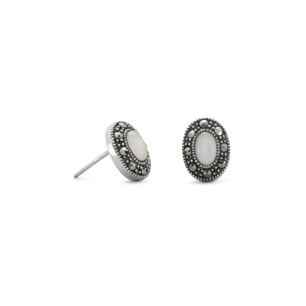 Marcasite and Shell Sterling Silver Stud Earrings - deelytes-com