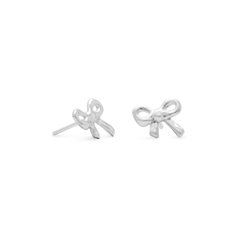 Polished Sterling Silver Bow Earrings - deelytes-com