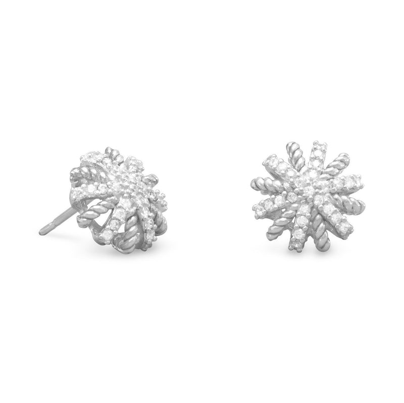 Domed CZ Starburst Sterling Silver Earrings - deelytes-com