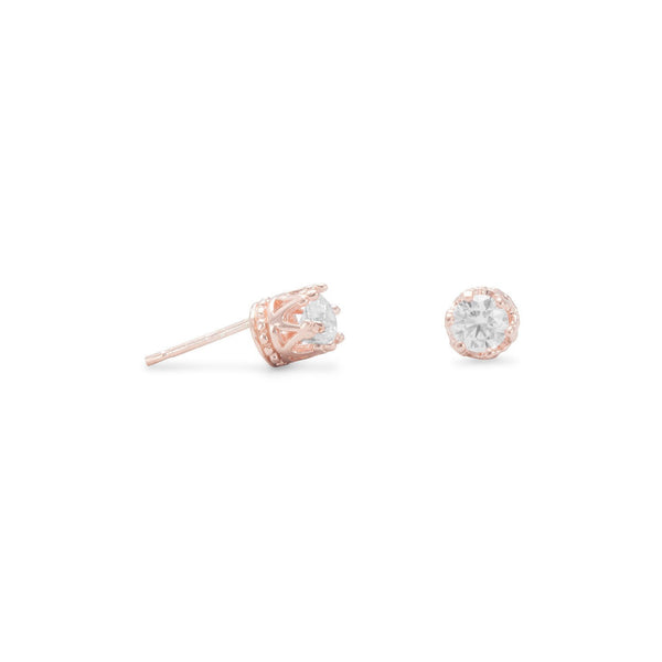 Rose Gold Crown Set CZ Earrings - deelytes-com