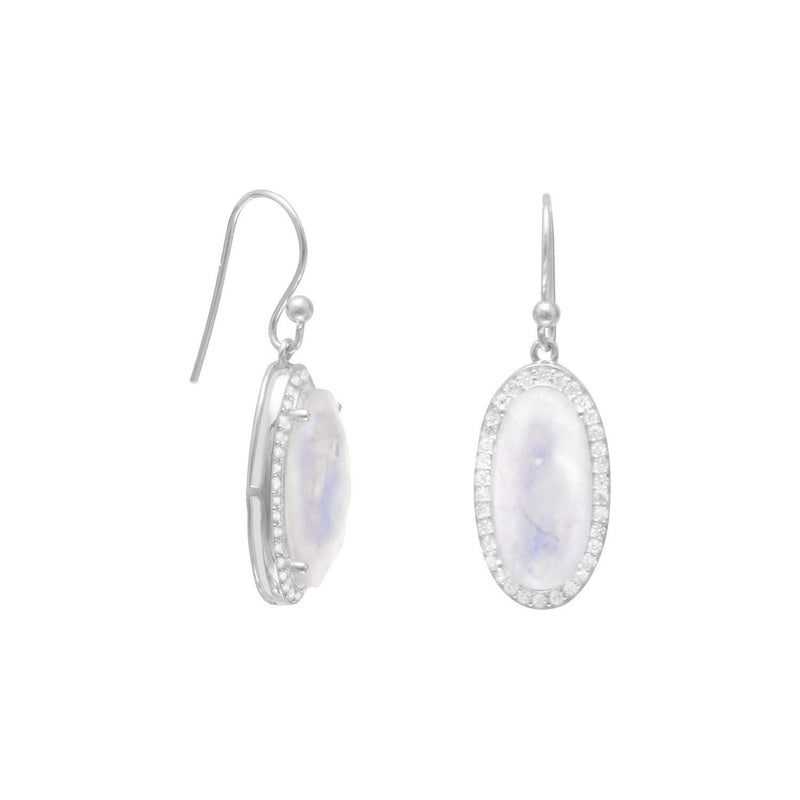 Oblong Rainbow Moonstone with CZ Edging Earrings - deelytes-com