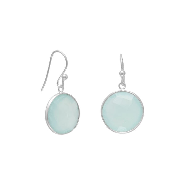 Faceted Sea Green Chalcedony Sterling Silver Earrings - deelytes-com