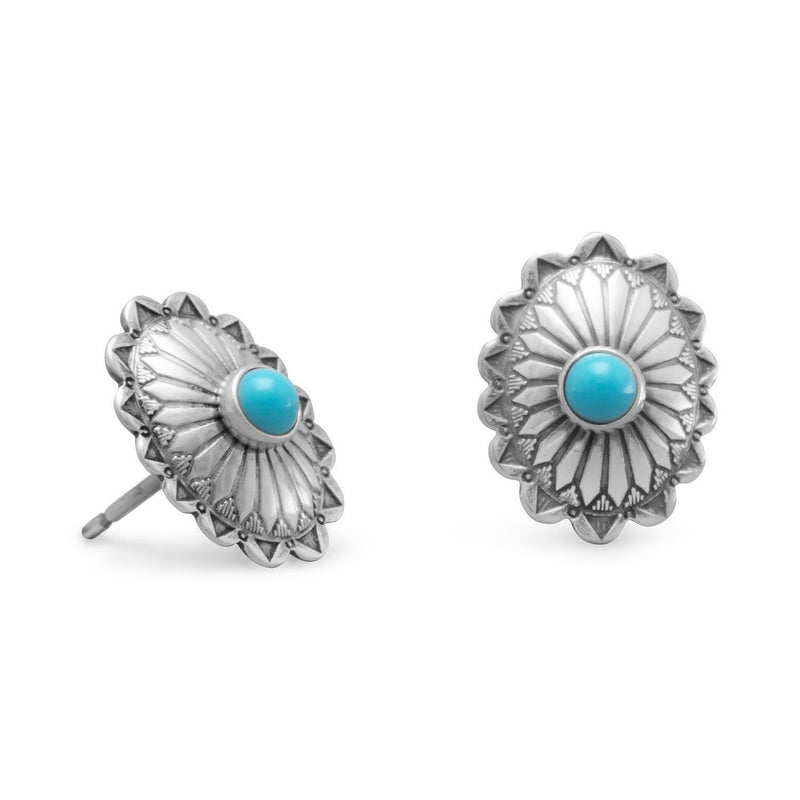 Sterling Silver Turquoise Concho Stud Earrings - deelytes-com