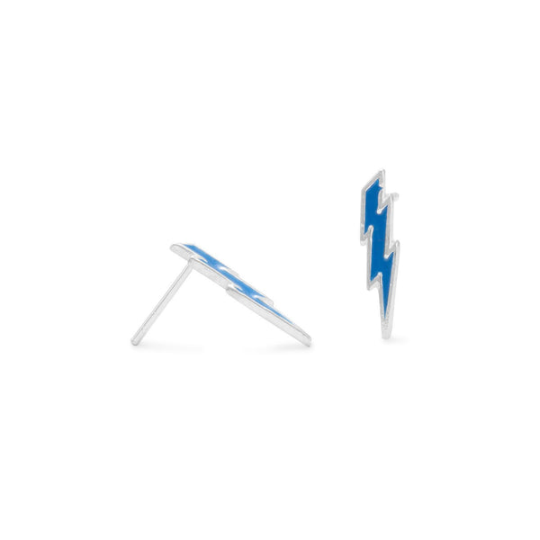 Blue Lightning Bolt Sterling Silver Stud Earrings - deelytes-com