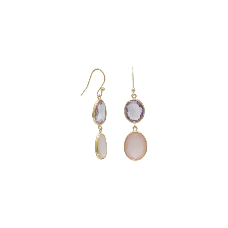 Gold Quartz and Amethyst Drop Earrings - deelytes-com