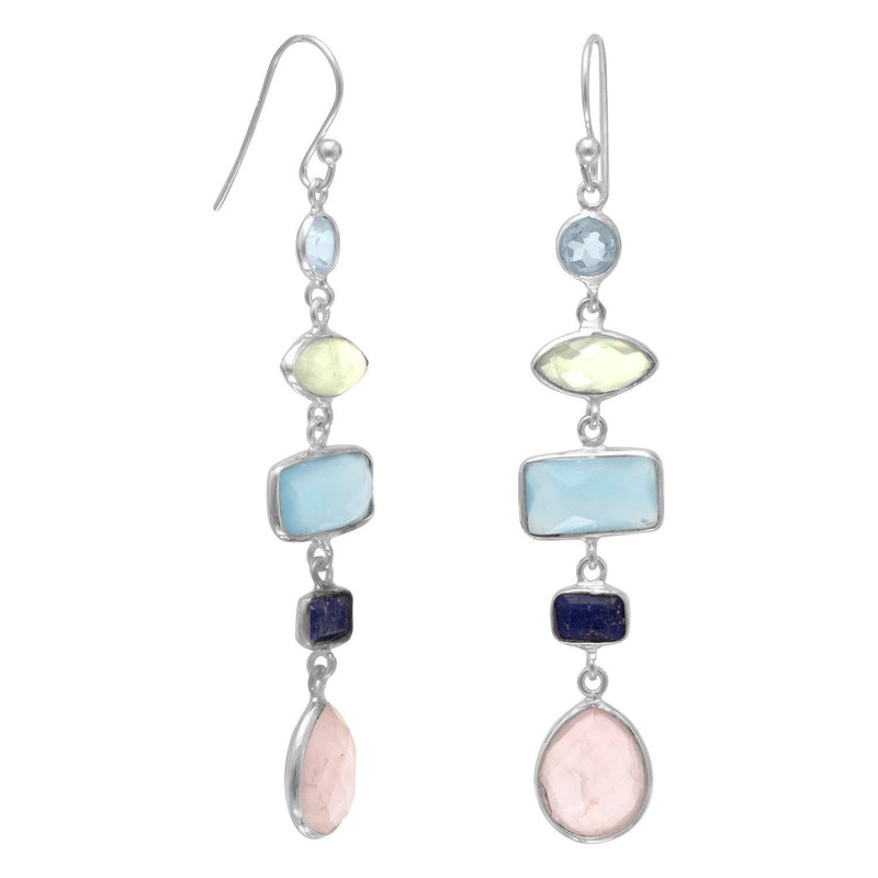 Gorgeous Multi-Gemstone Long Drop Earrings - deelytes-com